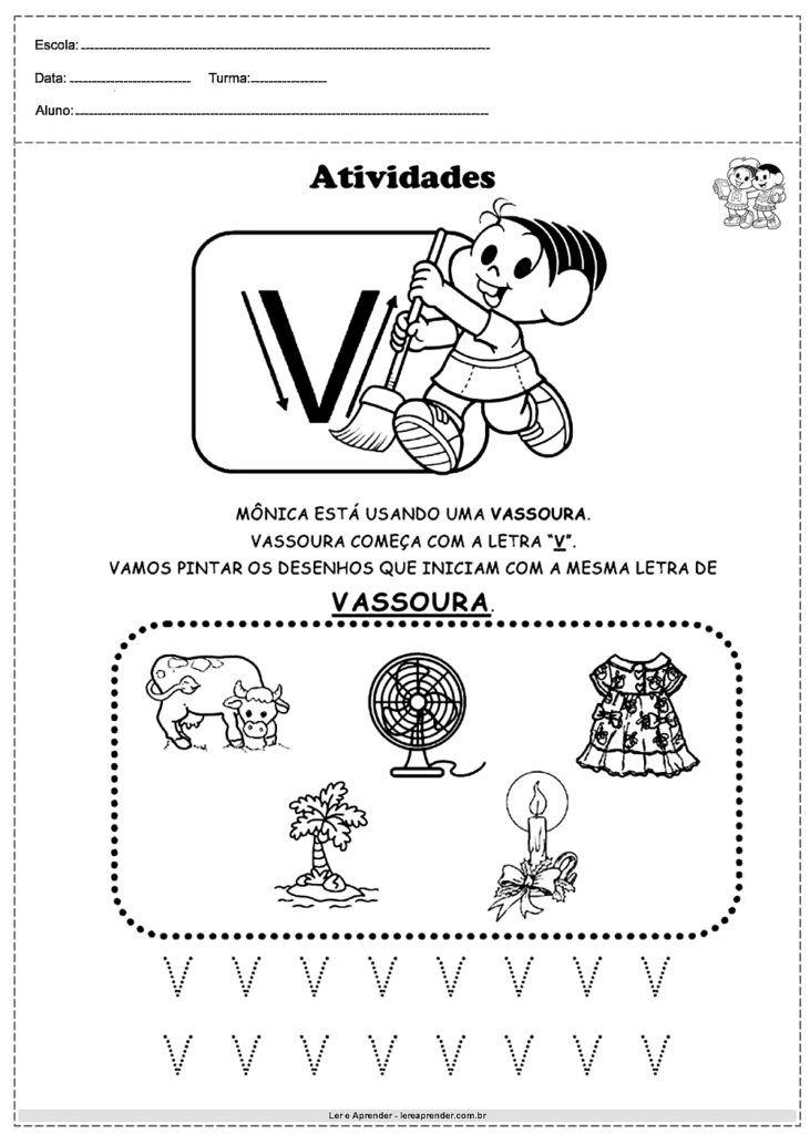 Atividades Com Alfabeto Turma Da Monica Letra V Com Imagens