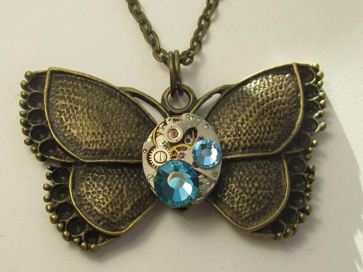 Steampunk  Butterfly Necklace  pendant vintage watch movement Steam Punk Statement Jewelry Blue Swarovski Gift for Her Birthday gift idea