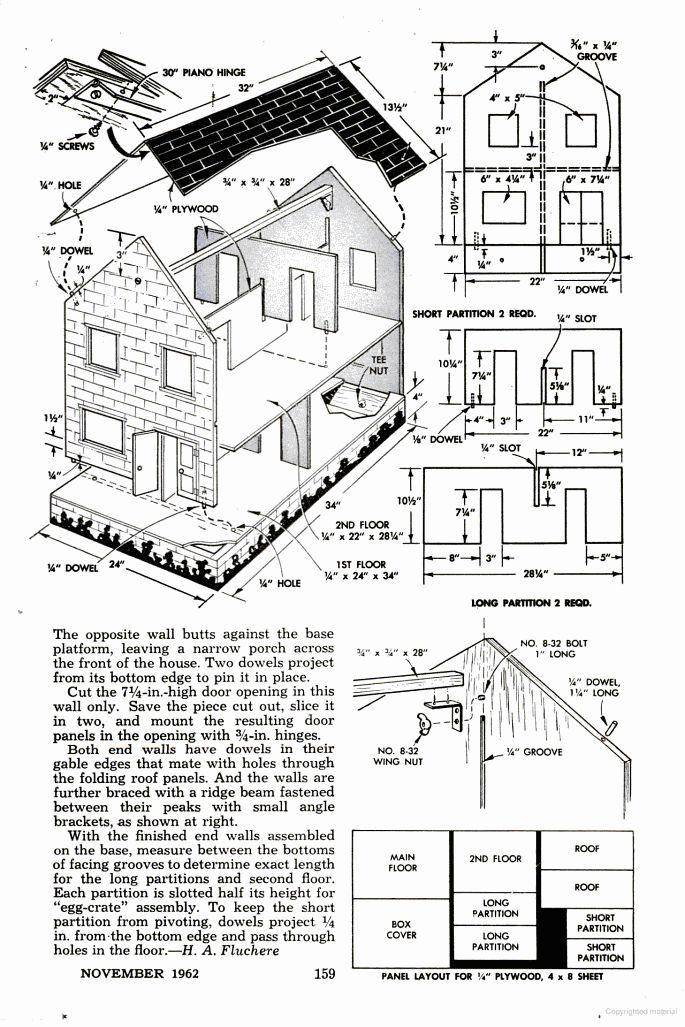 A 3 Foot Long Make It Yourself Plywood Dollhouse Project From The U002760s