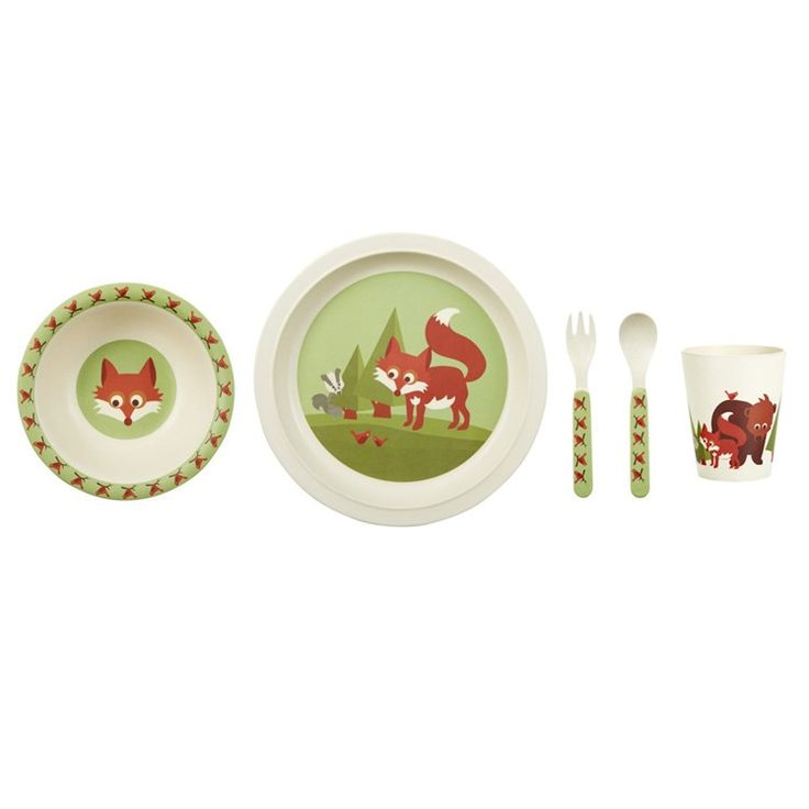 Blafre Childrens Dinner Set Bamboo Fox Green
