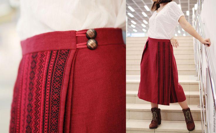 Купить Юбка миди Марья-пана - лен, лён, миди, юбка, запах, понева, linen, skirt, midi, slavic, folk, ethno, russian style