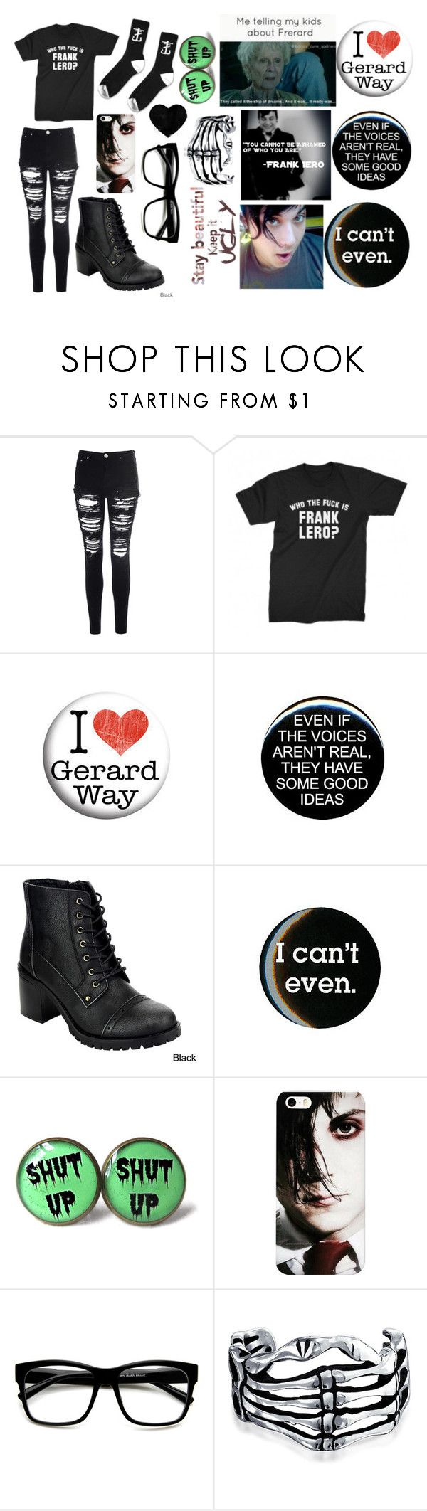 """""""Frank Iero's muh bish...!!"""" by haliejade2003 ❤ liked on Polyvore featuring Glamorous, Paul Frank, Hot Topic, ZeroUV and Bling Jewelry"""