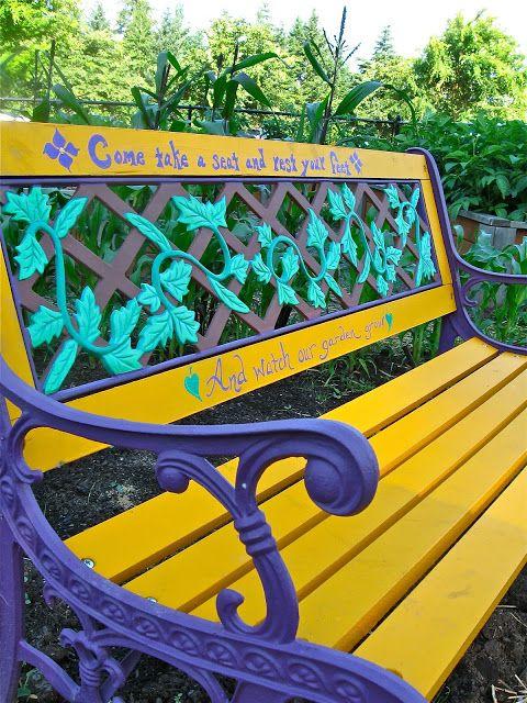 Brightly painted garden bench    Reflecting Back on My Community Garden Plot | gravy lessons