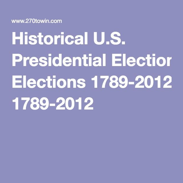 Historical U S Presidential Elections 1789 2012