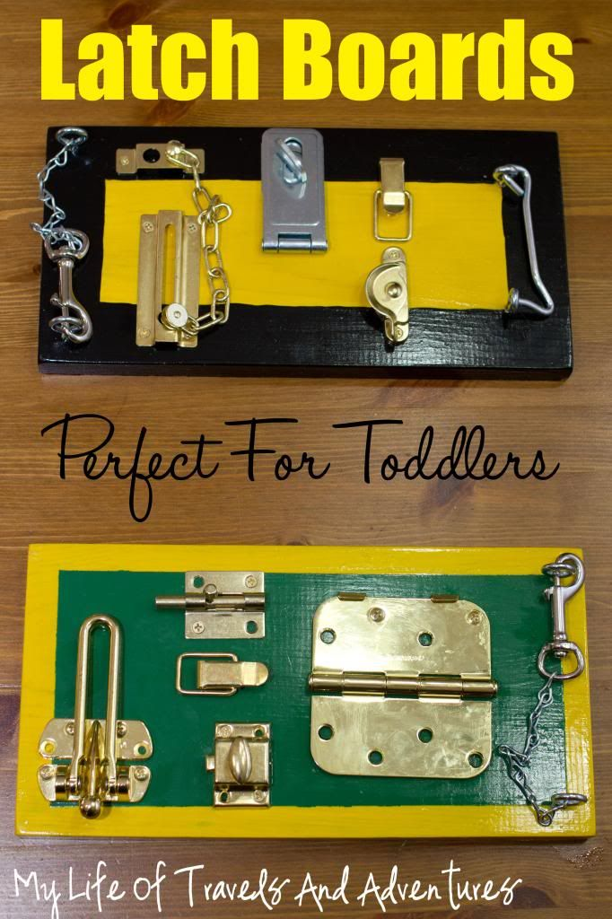 DIY Latch Boards for toddlers: my life of travels and adventures blog