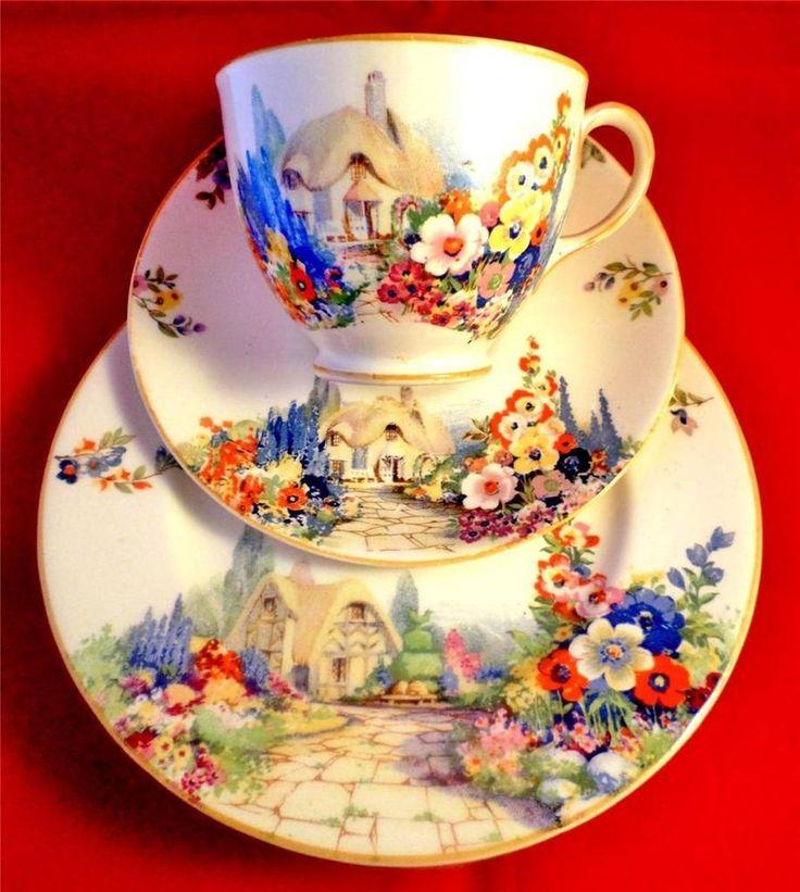 ART DECO China SWINNERTONS Tea Trio COTTAGE GARDEN Vintage HOLLYHOCKS *RARE* A