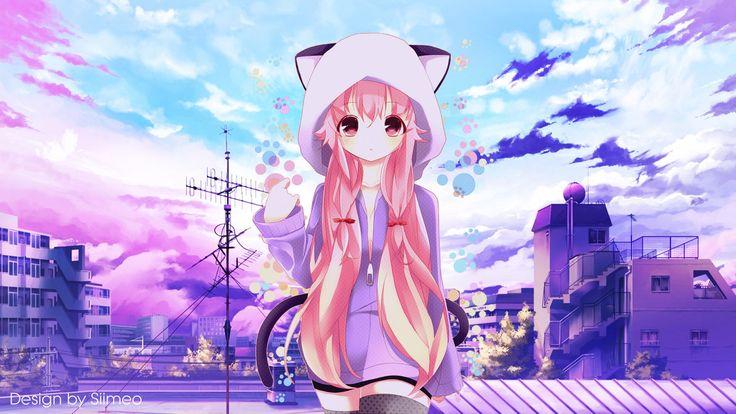 Anime Wallpaper 1920 x 1080 Gasai Yuno, Mirai Nikki, A simple Purple Day - Anime Wallpaper by Siimeo