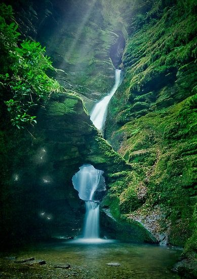 Enchanting waterfall at St Nectan's Knieve , near Tintagel , North Cornwall., England  #PantheonUK