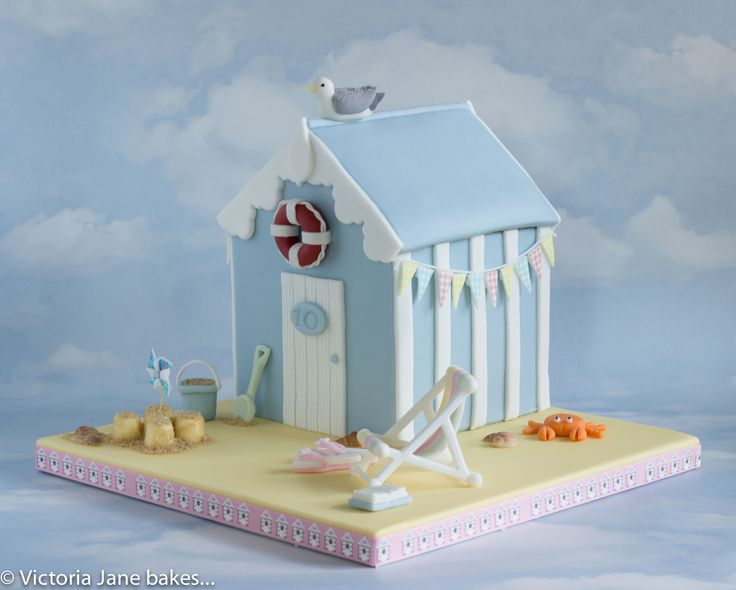 Blue & White Beach Hut Cake
