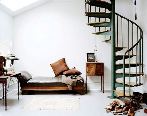 i like this whole layoutDecor, Spirals Staircases, Spirals Stairs, Dreams, Green, Interiors Design, House, Spiral Staircases, Stairways