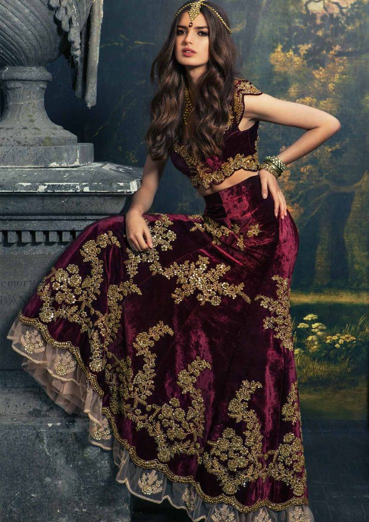 Gold Embroidered Maroon Velvet #Lehenga By My Trousseau.