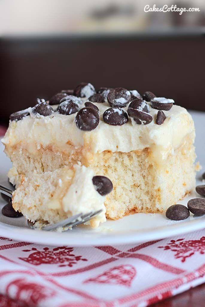 Do you like poke cakes? Try this white cake soaked in sweetened condensed milk and topped with an Ah-Mazing cannoli filling.