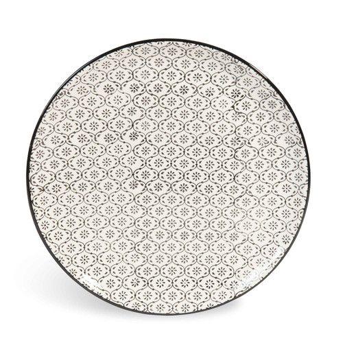 Assiette plate en faïence micromotif noir/blanc D 27 cm CHIANG MAI