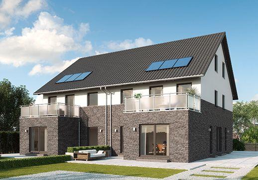"""Modelle """"Monza"""" - 2,5-geschossiges Doppelhaus mit Einliegerwohnung, moderne Fassaden-Optik in Klinker/Putz, Erker mit aufgesetztem Balkon. Raumgrundfläche gesamt: 205,49 qm"""