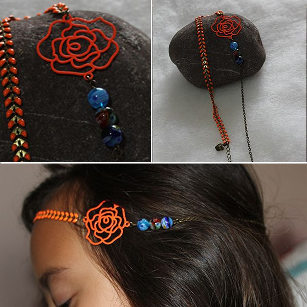 Bijou de tête/headband avec chaîne épi et connecteur en filigrane