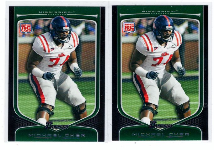 Sports Cards Football – 2009 Bowman RC Michael Oher – Mississippi College 4 Card Lot – Free Shipping