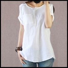 Free shipping 2015 Summer New Large Size Women Loose Sen female Line Cotton Short-sleeved Blouse Blouse And Long Sections(China (Mainland))