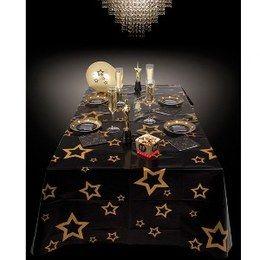 Tafellaken VIP -  Een groot plastic tafellaken bedrukt met sterren. Afmeting: 130 x 180cm. | www.feestartikelen.nl