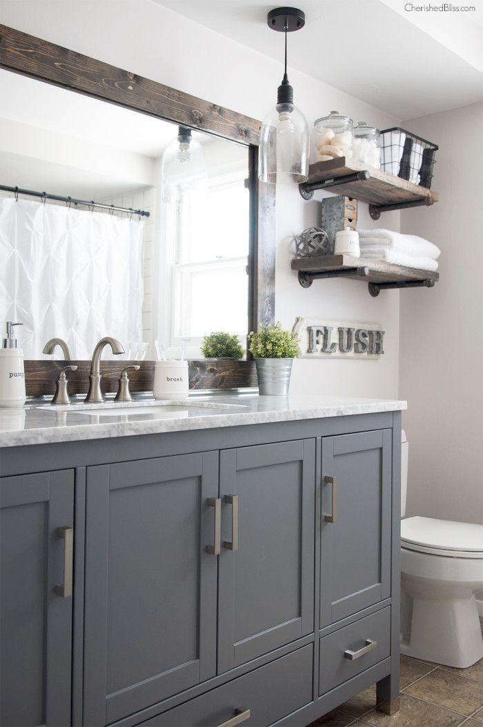 Industrial Farmhouse Bathroom Reveal Grey CabinetsGrey VanityDiy Mirror Frame