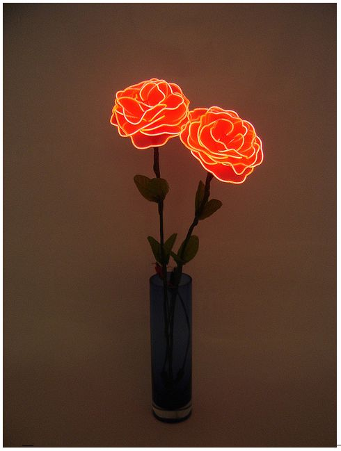 Neon roses. Flexible Neon Wire (Electroluminescent wire,cool Lighting,EL wire, glow stick rope) made in KPT company