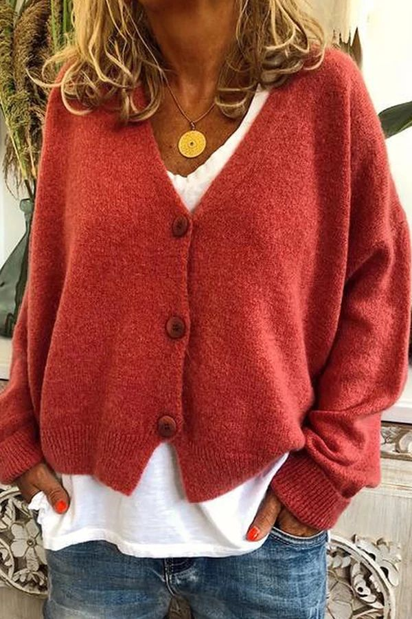 Casual Solid Long Sleeves Buttons Sweater – dresshopnow