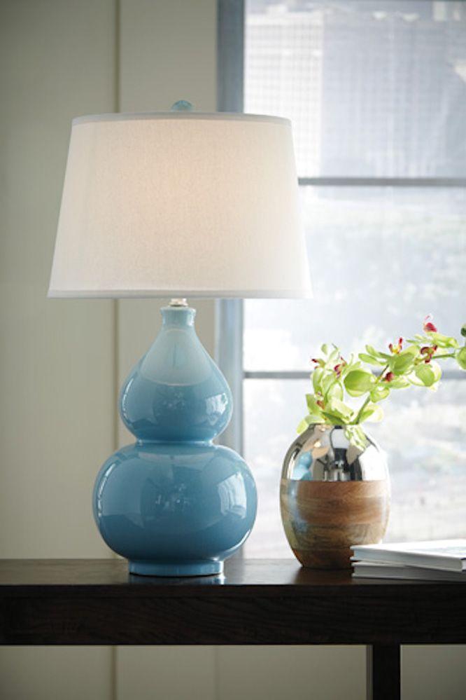 L100044 Saffia By Ashley Ceramic Table Lamp In Light Blue Table Lamp Table Lamp Lighting Lamp