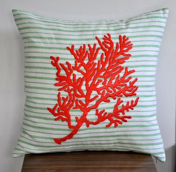 Coral Throw Pillow Cover, Green White Striped Linen Orange Coral, Embroidered, Nautical Pillow, Cottage Decor, Coral Bedding, Pillow Sham