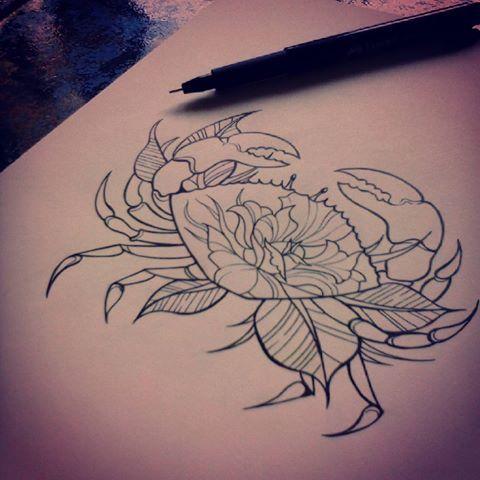 S'y remettre tout doucement .. #Zeichnen # Fortschritt #Kunst #Picoftheday #rotring #Tattoo #Flash #linework #Krabbe #Animaldrawing #Blumen #vegetal #und …
