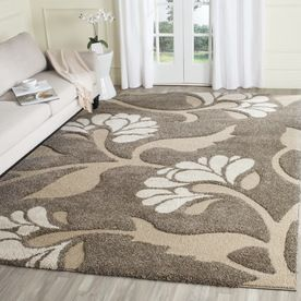 Shop Safavieh Florida Shag Smoke/Beige Rectangular Indoor Machine-Made Tropical Area Rug (Common: 8 x 10; Actual: 8-ft W x 10-ft L x 0-ft Dia) at Lowes.com