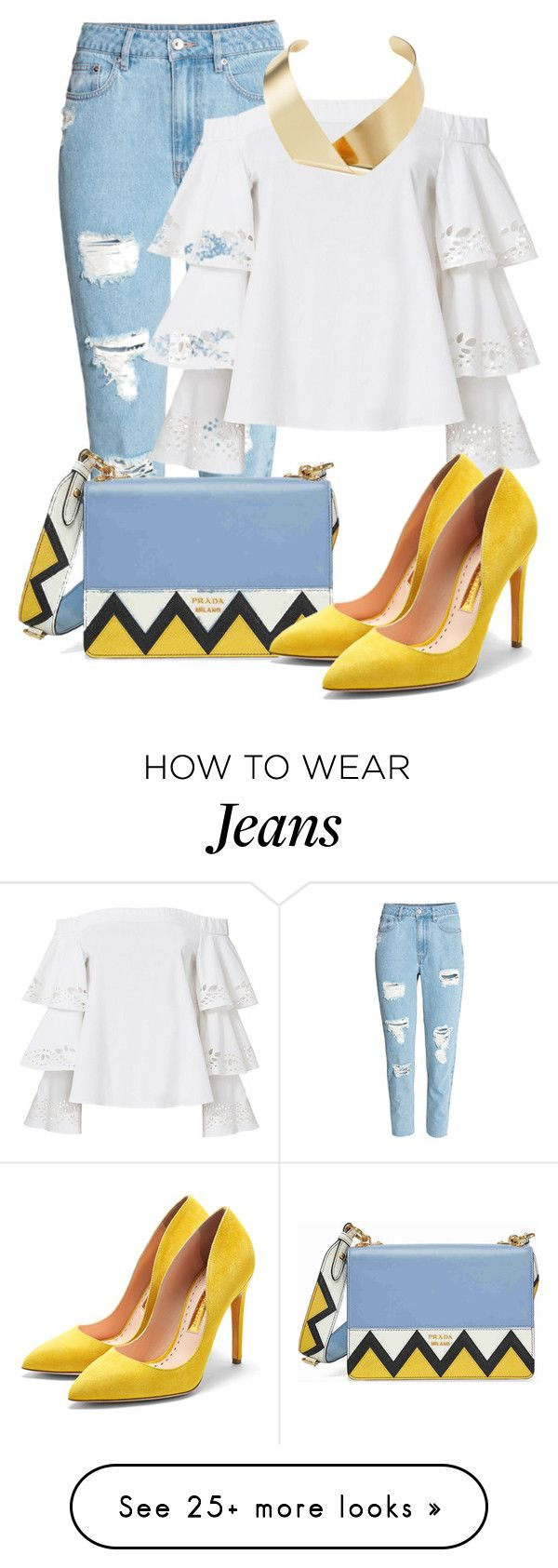 """""""Summer Jeans"""" by nblworld on Polyvore featuring H&M, Exclusive for Intermix, Prada, Rupert Sanderson and Kenneth Jay Lane"""