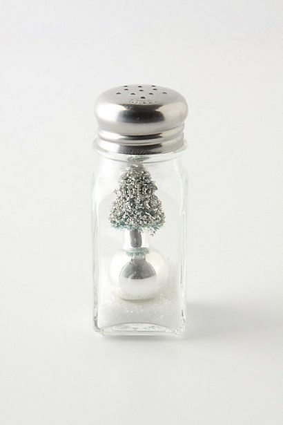 snowglobe in salt shaker from Anthropologie