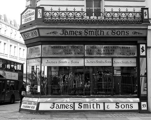 James Smith & Sons: New Oxford Street One of the best shopfronts in London. In 1830 James Smith founded the famous firm of James Smith and Sons at Foubert Place. His son, also called James, moved the business to New Oxford Street in 1857. This is one of the best looking shops in London and the interior is fascinating.