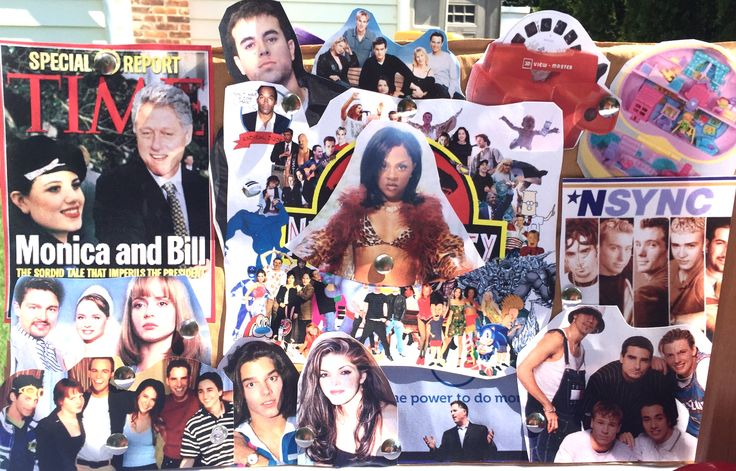 90's party theme board - some of the pictures I printed which I couldn't fit on the board, but thought were necessary. Just ripped a flap off a cardboard box and pinned these pictures on with thumbtacks. Don't limit yourself to just pictures of celebrities - think toys, fads, controversies, changes, news.