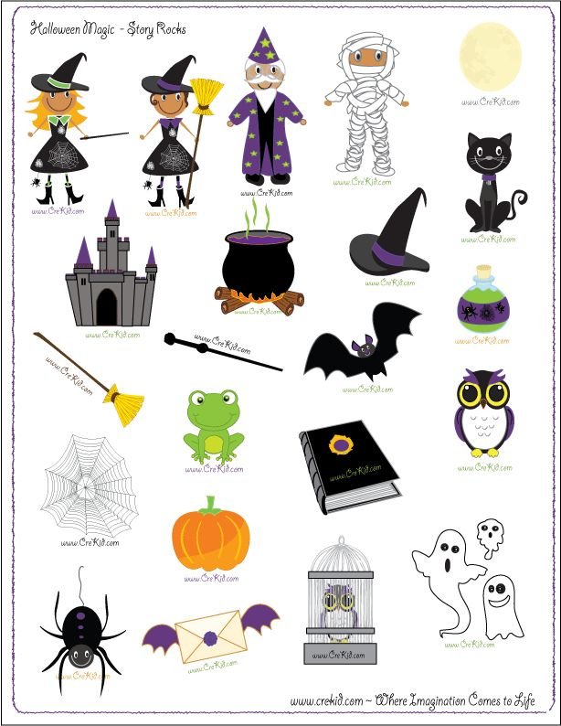 Story Rocks - Halloween -  promote creativity and imagination - great for  kindergarten, first grade, second grade, and third grade - writing prompts - story telling - sentence starters - story prompts  - www.crekid.com