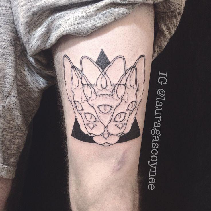 Designed and tattooed by Laura Gascoyne Sphynx cat tattoo black blackwork trippy linework triangle three eyes