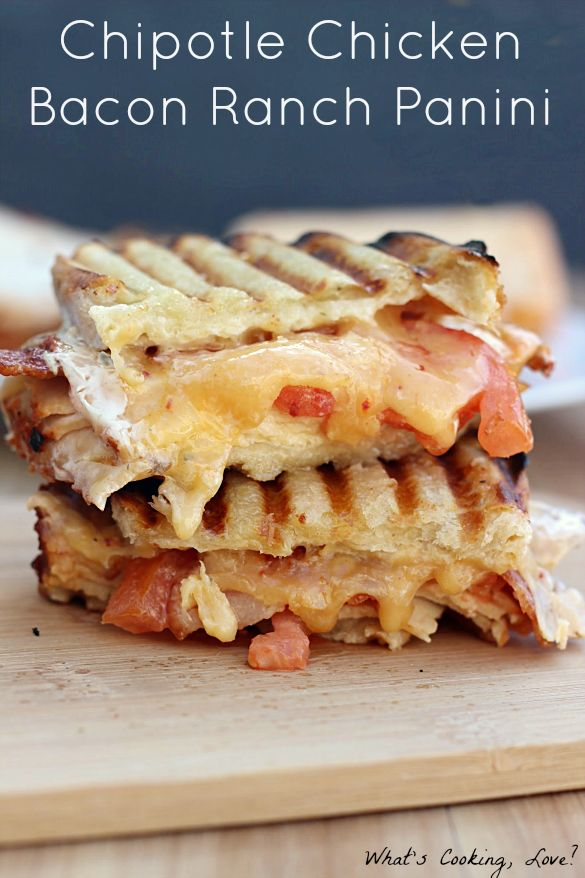 Chipotle Chicken Bacon Ranch Panini—a delicious and easy chicken bacon ranch panini with the added spice of chipotle.