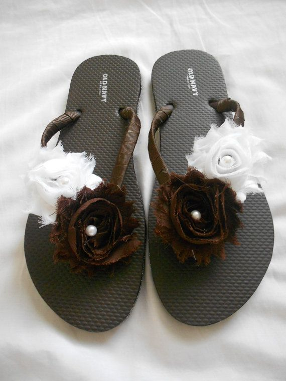 Brown and White Shabby Chic Flip Flops for by AllThingsGirlyBows, $20.00