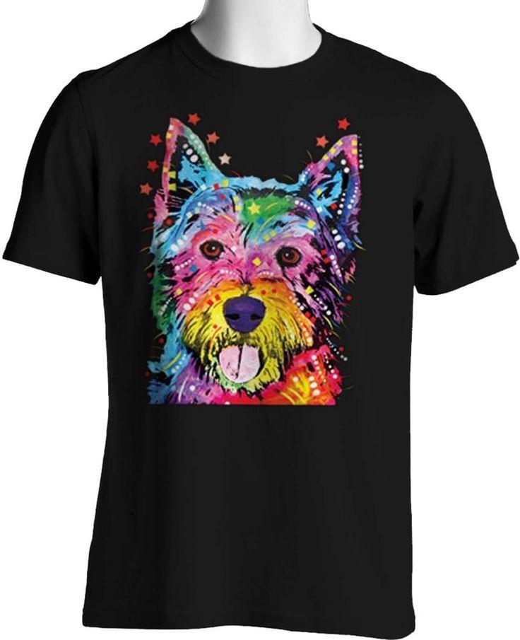 Cute Westie Dog Neon Dean Russo Art T Shirt Mens Womens Graphic Free Shipping #TShirtsRule #GraphicTee
