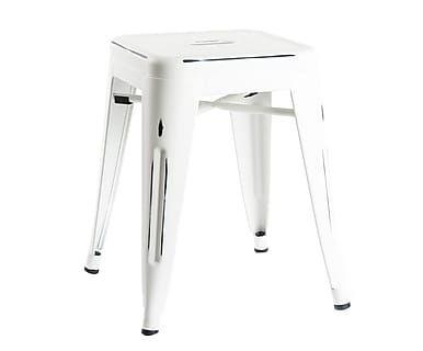 Sgabello in acciaio bianco, 38x38x46 cm