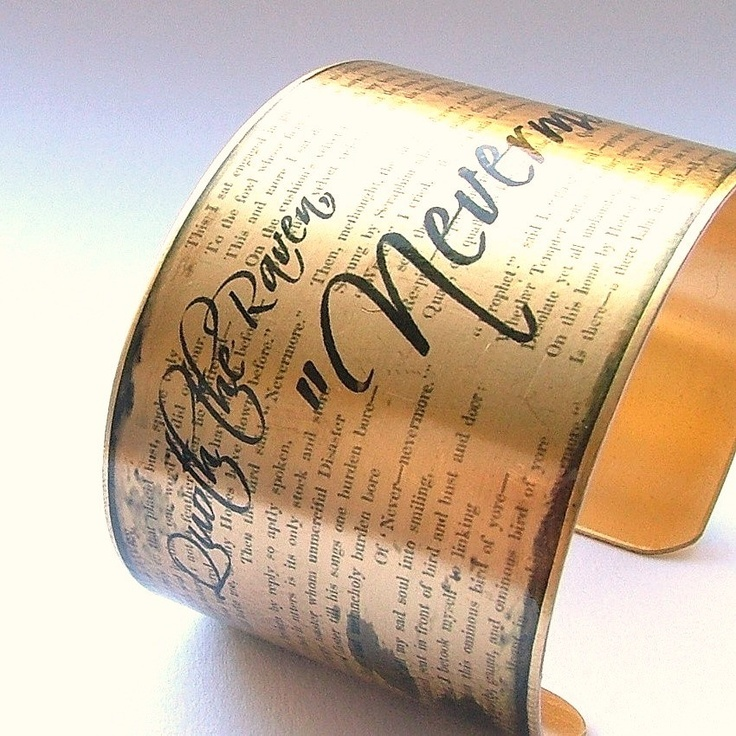 Edgar Allan Poe - 'Nevermore' - The Black Raven Macabre Literary Quote Brass Cuff Bracelet. $40.00, via Etsy.