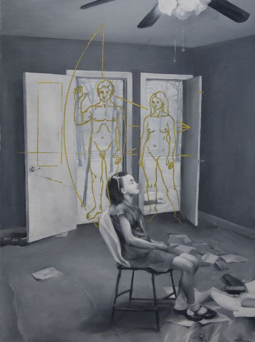 Unlimited free time  2009  oil, graphite and golden gel pen on canvas  48 x 35 cm.  © Catalin Petrisor