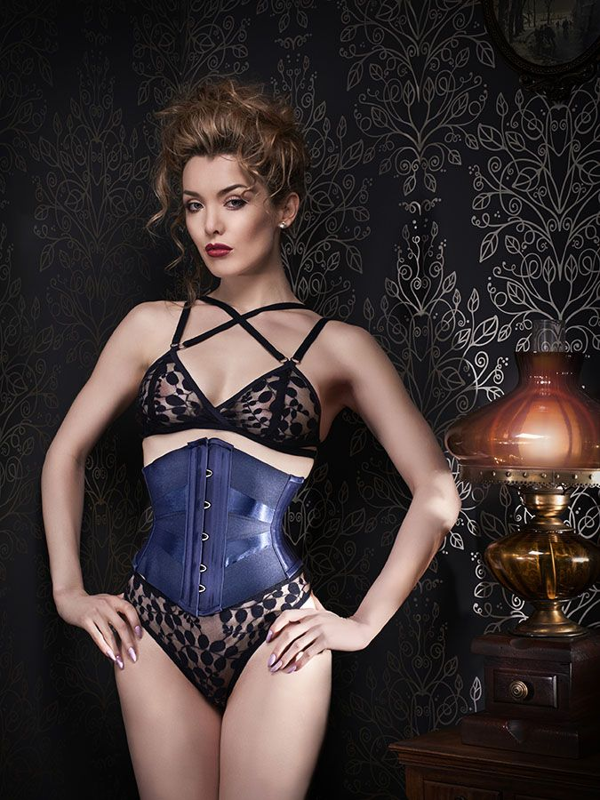 """Orchid Corsetry """"Midnight"""" strappy mesh lingerie set worn with a ribbon corset 