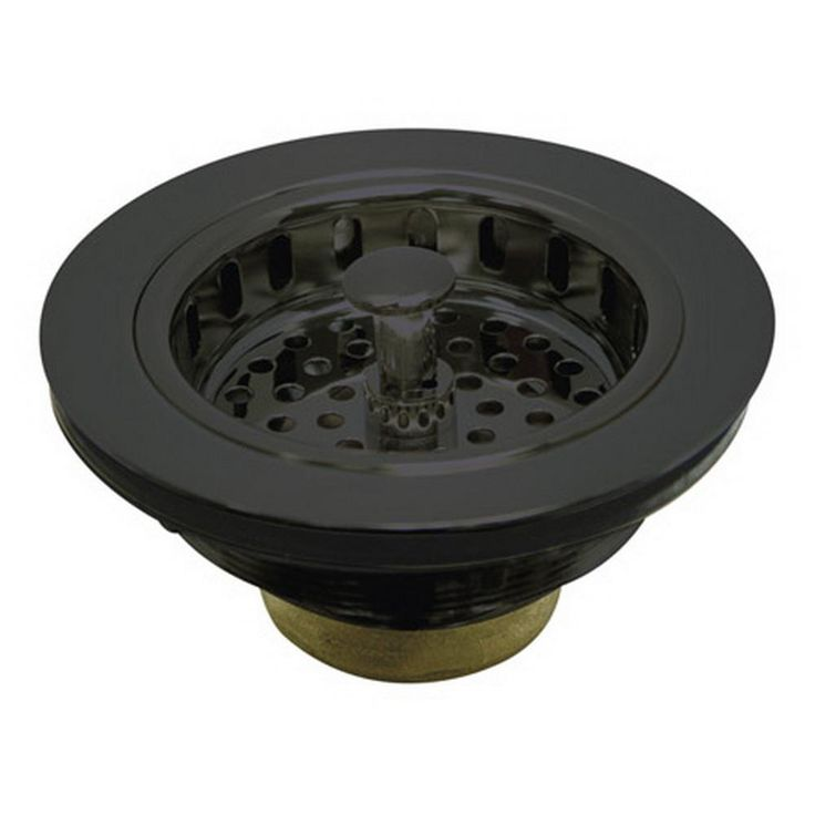 4-1/2 in. Kitchen Sink Flange and Strainer in Black Stainless Steel