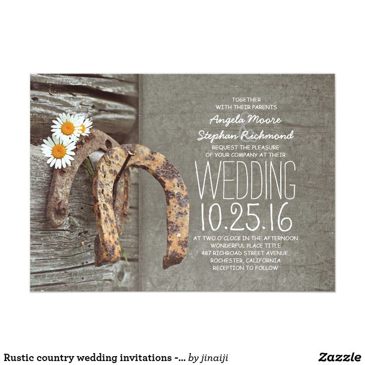 Rustic country wedding invitations Horseshoes 79