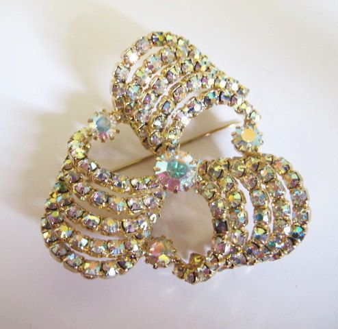Vintage Clear Rhinestones, Ribbon Curls Brooch, Stand Out, Wedding, Hollywood Glam, Stand Alone Piece by DesignerShowcase on Etsy