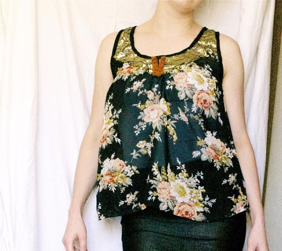 Sultana's Garden - One of a kind Sheer Floral tank top - bohemian sequins tunic black gold  - Moth & Rust Handmade in Kansas USA