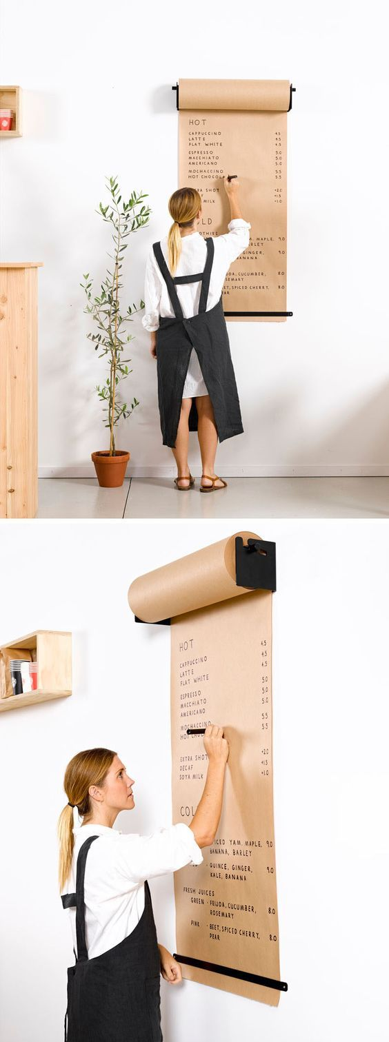 Wall Decor Idea - Install A Paper Roll Holder To Create A Fun Place To Write Lists Or Let Kids Draw: