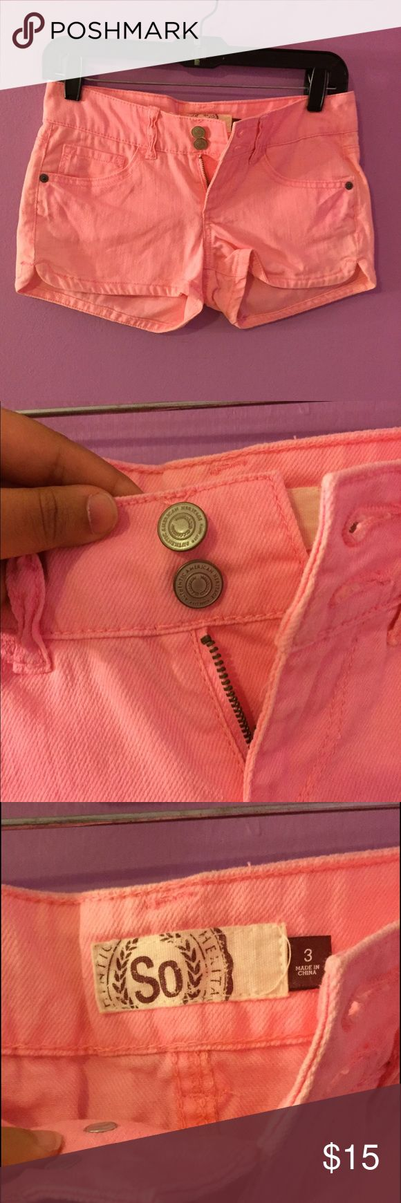 SO bright shorts Bright pink jean shorts from the brand SO, is double buttoned, but not high waisted like most bottoms with multiple buttons. Never worn, no defects SO Shorts Jean Shorts