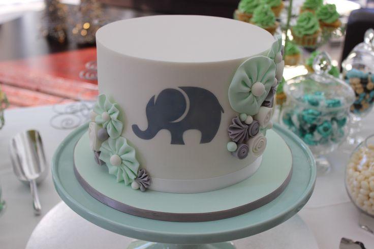 Mint, grey & white gender neutral baby shower cake