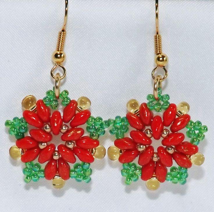 Poinsettia Earrings, Red Christmas Earrings, Handmade Seed Bead Flower Earrings by DawnsBeadedJewels on Etsy
